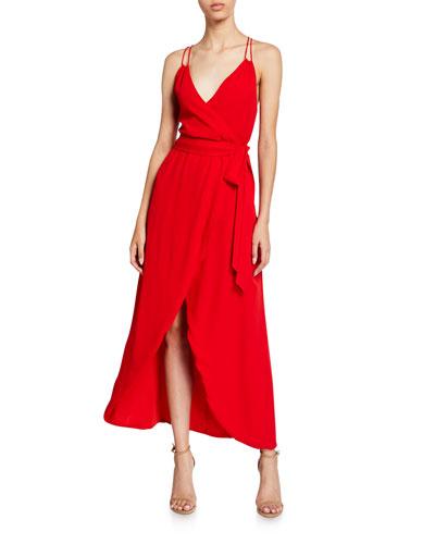 Susana Multi-Strap Mock-Wrap Midi Dress