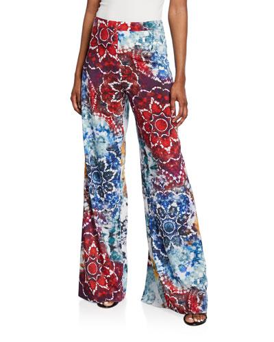 Athena Tie-Dye Flared Wide-Leg Pants