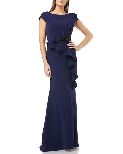 Bateau-Neck Cap-Sleeve Crepe Gown with Ruffle & Beaded Detail