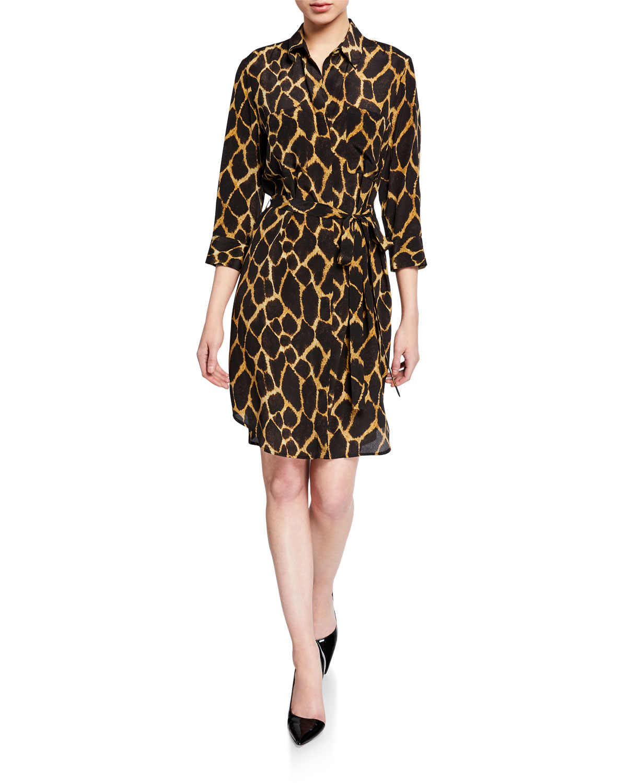 L'agence Dresses STELLA PRINTED SHORT SHIRT DRESS
