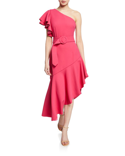 Finale One-Shoulder Asymmetric Flounce Dress
