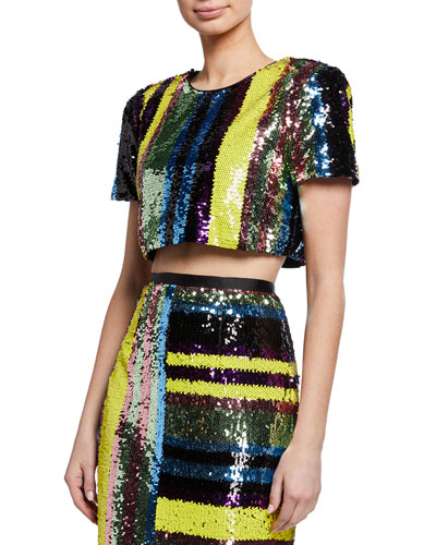 Lola Sequin Stripe Short-Sleeve Crop Top