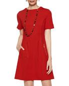 Misook Tango Short-Sleeve Seamed Ponte Sheath Dress