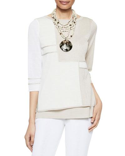 3/4-Sleeve Patterned Sheer Overlay Tunic