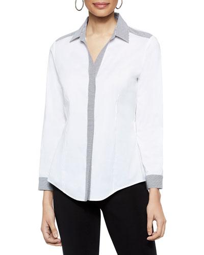 Button-Down Stretch-Cotton Shirt with Striped Trim