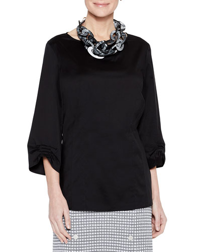 Stretch-Cotton Ruched-Sleeve Blouse