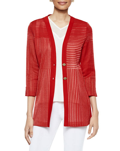 Two-Button Sheer Pattern 3/4-Sleeve Easy Cardigan