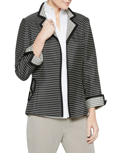 Checkered Woven Jacket with Contrast Cuff & Collar