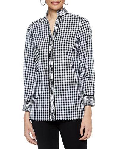 Checkered Button-Up Stretch-Cotton Blouse w/ Mandarin Collar