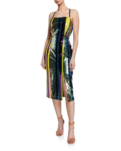 Influencer Multi-Sequin Stripe Sleeveless Cocktail Dress