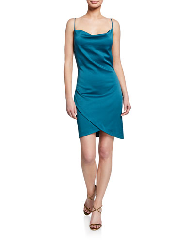 Backstage Cowl-Neck Mini Slip Dress