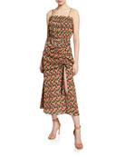 Elliatt Regal Floral-Print Shirred Sleeveless Dress with Slit