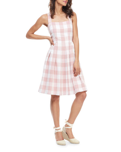 Checkered X-Back Pleated Fit-&-Flare Dress
