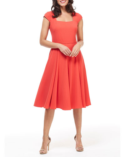 Square-Neck Cap-Sleeve Fit-&-Flare Dress
