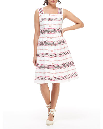 Striped Square-Neck Button-Down Sleeveless Fit-&-Flare Dress