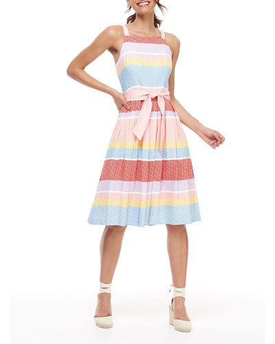 Striped Square-Neck Sleeveless Dress with Circular Skirt