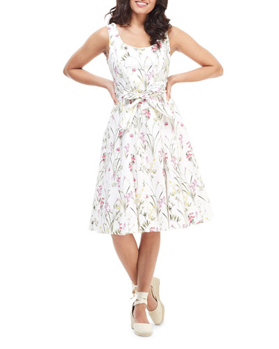 Floral-Print Scoop-Neck Sleeveless Fit-and-Flare Dress