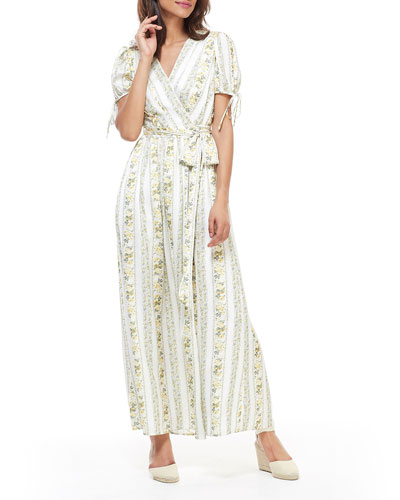 Striped Floral-Print Wrap Over Bodice Short-Sleeve Maxi Dress