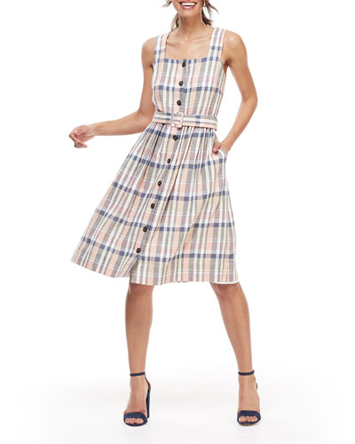 Plaid Square-Neck Button-Front Sleeveless Belted Dress