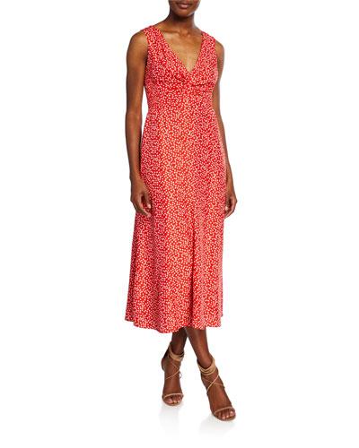 Malia Printed Twist-Front Sleeveless Midi Dress