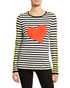 Lisa Todd Petite Striped Double Heart Intarsia Cotton