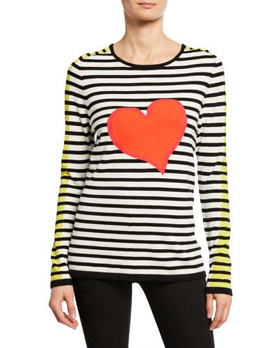 Petite Striped Double Heart Intarsia Cotton Sweater