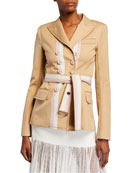 Alexis Nourdine Striped Belted Jacket