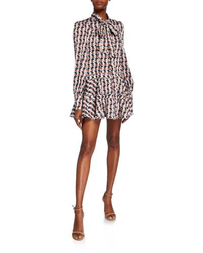 Maika Drop-Waist Short Tie-Neck Dress