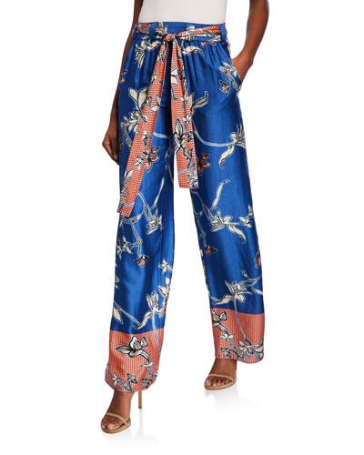 Aviles Tie-Waist Printed Satin Pants