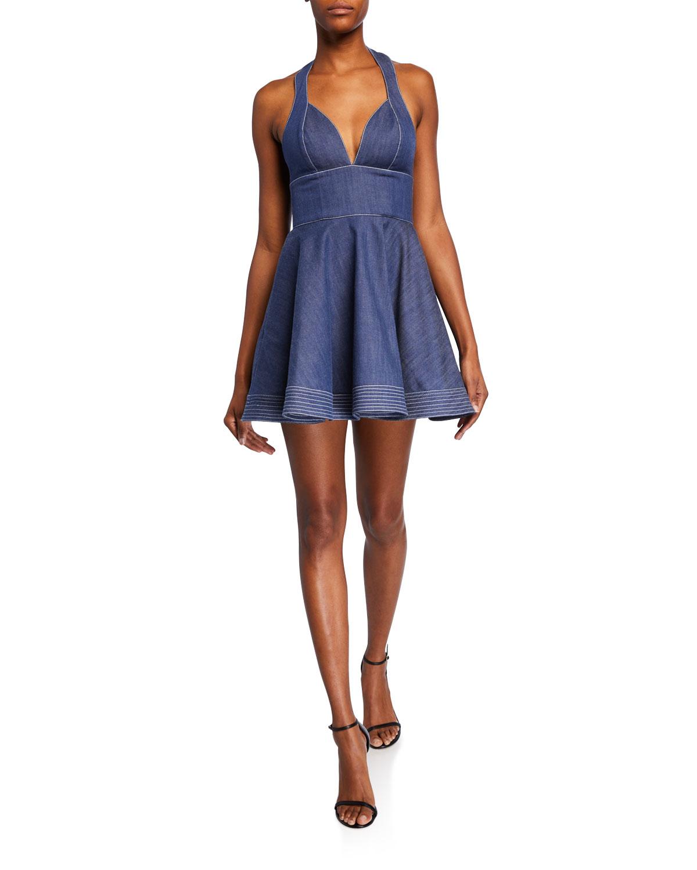 Alexis Dresses TARRANA HALTER FLOUNCE SHORT DRESS
