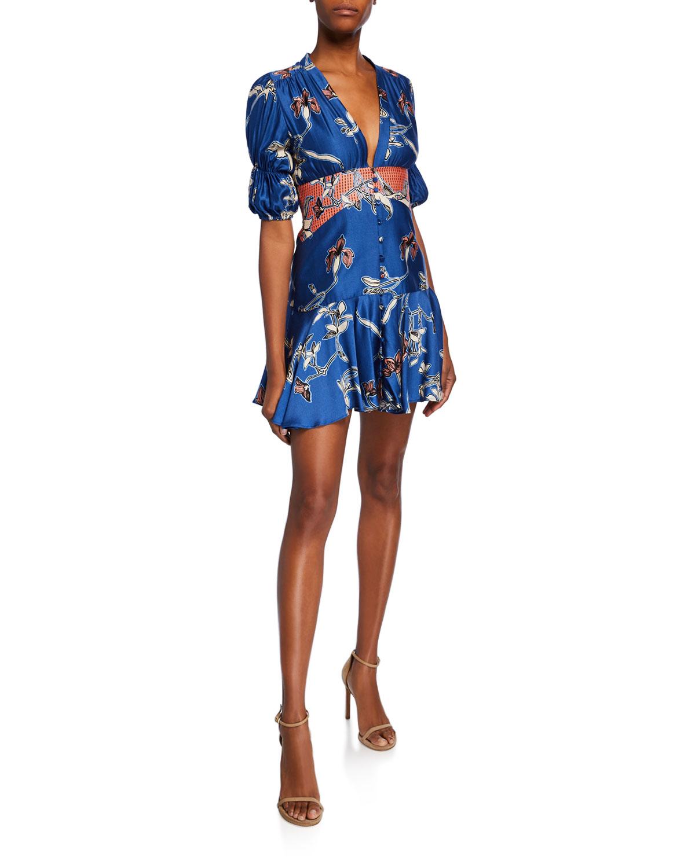 Alexis Dresses Nari Button-Front Fit-&-Flare Short Dress