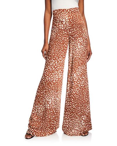 Essa Wide-Leg Leopard-Print Pants