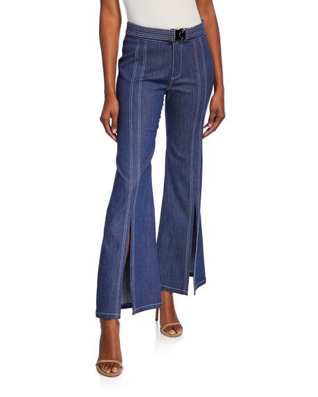 Alexis Claremont Denim Slit-Front Pants