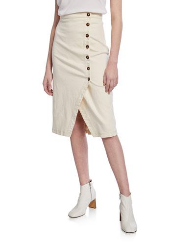 Eileen Asymmetrical Button-Front Skirt