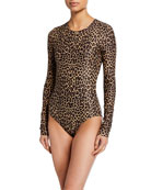 Cover Long-Sleeve Leopard-Print One-Piece Swimsuit