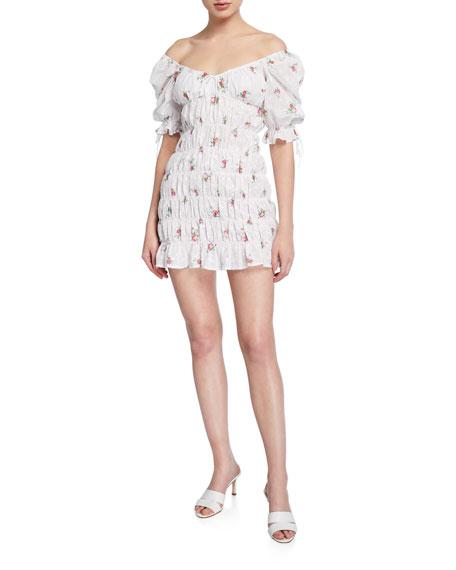 For Love & Lemons Tarte Eyelet Smocked Short Dress