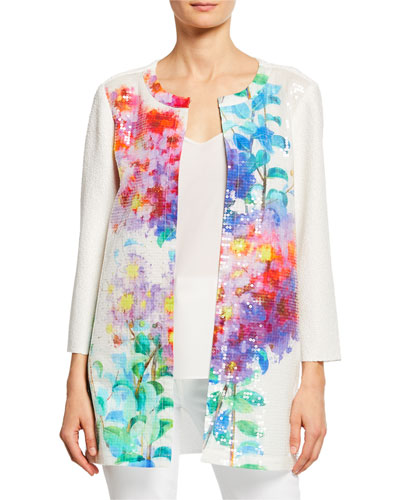 Plus Size Crinkle Glisten Floral-Print 3/4-Sleeve Long Cardigan