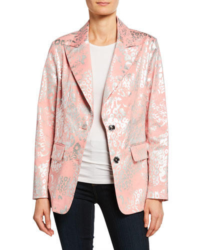 Petite Metallic Animal-Print Two-Button Blazer