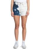 PRPS Bleached High-Rise Distressed Denim Shorts