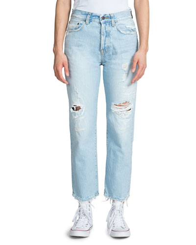 High-Rise Slim Boyfriend Jeans with Distressing