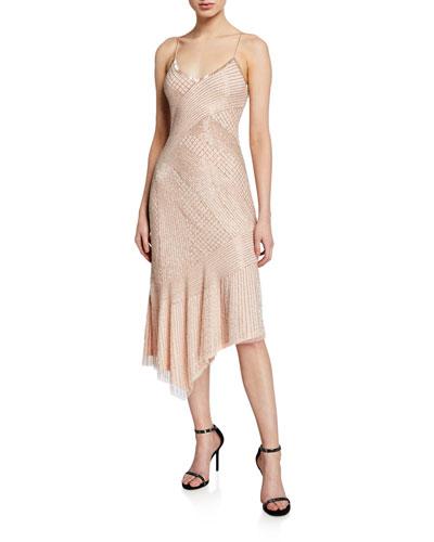 Athena Beaded Asymmetric Slip Dress