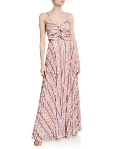 Beatrix Striped Twist-Front Sweetheart Sleeveless Pleated Gown