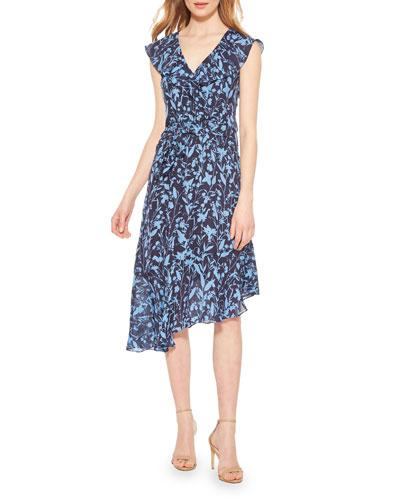 Brynlee Printed Asymmetrical Midi Dress