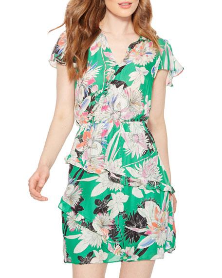 Parker Justice Floral-Print Ruffle Short Dress