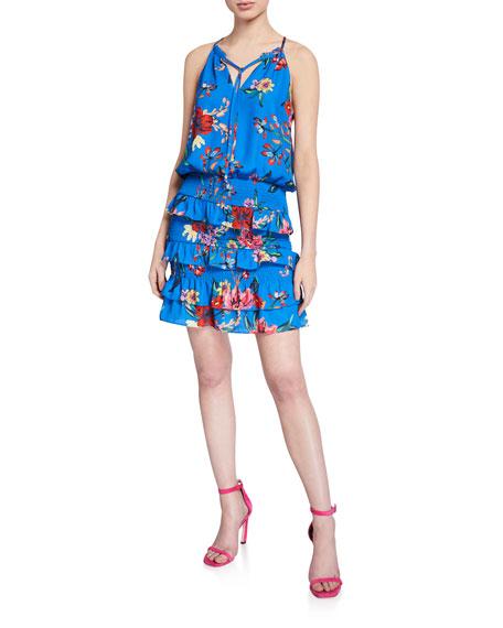 Parker Karolina Floral-Print Sleeveless Smocked Tiered Ruffle Dress