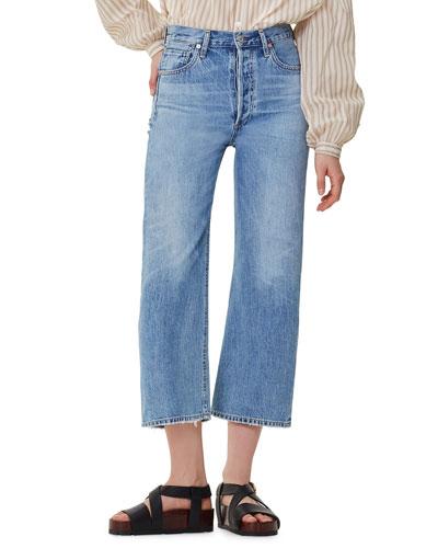 Sacha High-Rise Wide-Leg Crop Jeans