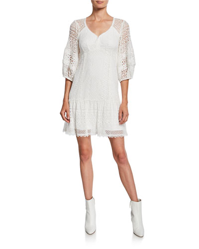 Romantic 3/4-Sleeve Lace Dress