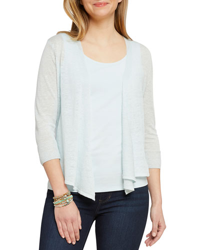 Plus Size 4-Way Open-Front Linen Cardigan