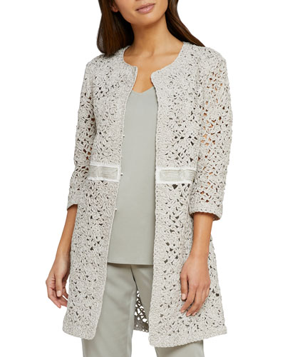 Empower Metallic Open-Weave Jacket