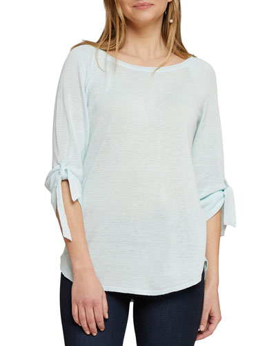 Petite Casual Friday Boat-Neck Tie-Cuff Sweater